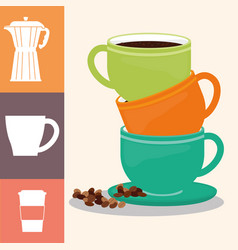 Coffee cup poster pile cup drink hot vector