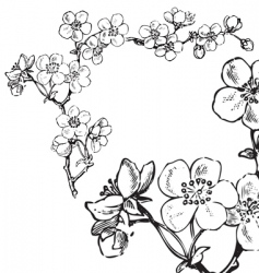 Antique flowers corner engraving vector
