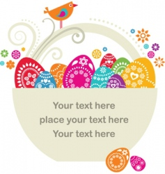Easter egg basket vector image