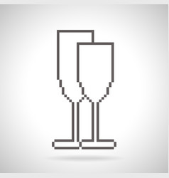 Two glasses icon pixel art style vector