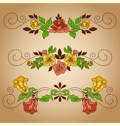Drawing flowers vignette craft vector