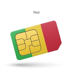 Mali mobile phone sim card with flag vector