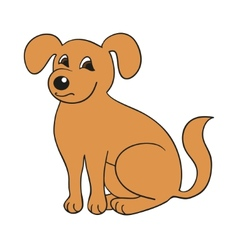 Red cute smiling dog on white background vector