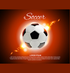 3d football or soccer ball on red background vector image vector image
