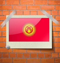 Flags kyrgyzstan scotch taped to a red brick wall vector