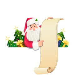 Santa claus with scroll and vector