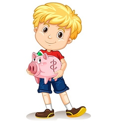 Little boy holding piggy bank vector
