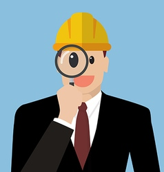 Engineer looking through a magnifying glass vector