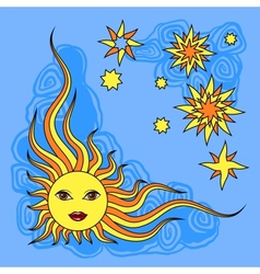 Fantasy hand drawn sun over white vector