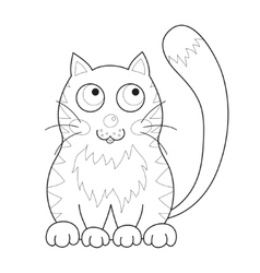 Cartoon smiling gentle kitty with stripes sit vector