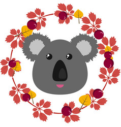 A koala and leafy wreath vector