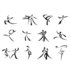 Abstract black icons of dancing people vector image