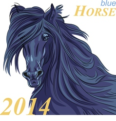 Black horse with a blue tint a symbol of 2014 vector