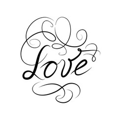 Calligraphic doodle love sign with handwritten vector