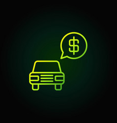 Car dollar price green icon vector