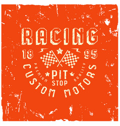 Car racing badge in retro style vector