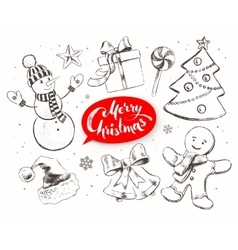 Christmas vintage line art set vector