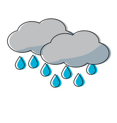 Clouds and water drops icon vector