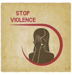 Crying woman stop violence concept vector