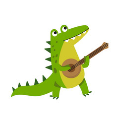 cute cartoon crocodile character playing guitar vector image vector image