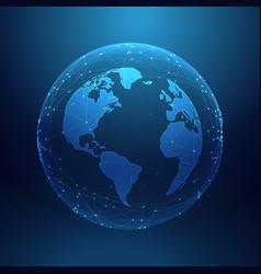 Digital technology planet earth inside network vector