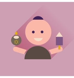 Flat icon with long shadow jewish child vector