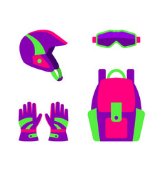 flat style skiing snowboarding apparel gear vector image vector image