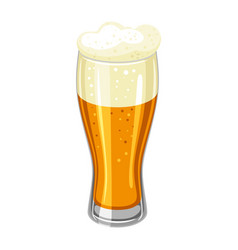 glass with light beer and froth for vector image vector image