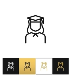 Graduation line icon vector