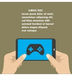 Hand holding smart phone the screen icon game vector image