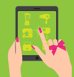 hand holing smartphone touching screen female vector image vector image