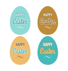 Happy easter set eggs calligraphic lettering vector
