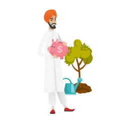 Hindu farmer holding a piggy bank vector