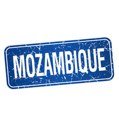 Mozambique blue stamp isolated on white background vector