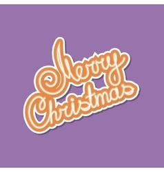 Orange text merry christmas on purple background vector