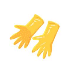 Pair of orange garden rubber gloves cartoon vector