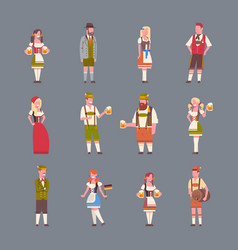People wearing german traditional clothes set of vector