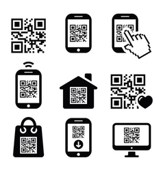 QR code on mobile or cell phone icons set vector image vector image