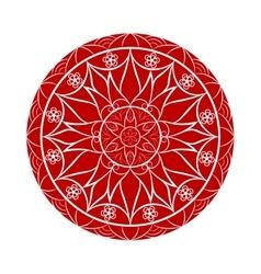 Red flower mandala over white vector