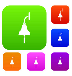 ship bell set color collection vector image