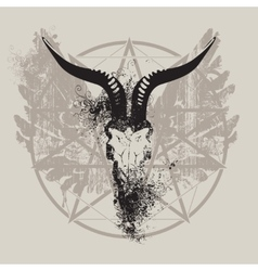 Skull of goat and wings and pentagram vector
