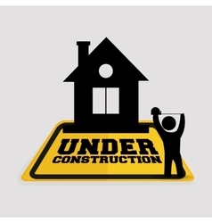Under construction worker house tape measuring vector