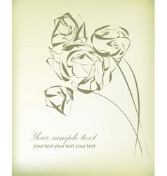Vintage flower greeting card vector image