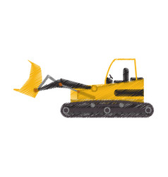 yellow backhoe icon image vector image