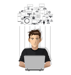 Young man laptop working internet of things vector
