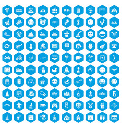 100 funny icons set blue vector