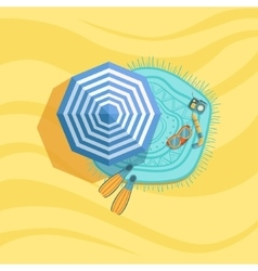Snorkeling Equipment Camera And Umbrella Spot On vector image