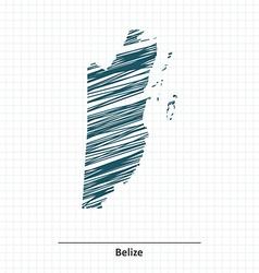 Doodle sketch of belize map vector