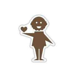 Paper sticker on white background heart man vector