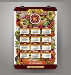Cartoon doodles russian food 2017 year calendar vector